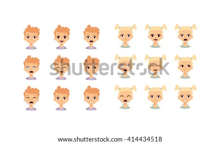 Girl emotions vector set collection. Kids emoji cartoon cute funny face and kids emoji face happy character. Kids emoji face design collection child avatar emoticon. Smile expression laugh symbol. - stock vector