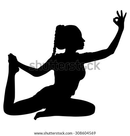 girl exercising doing yoga asana eka stock vector