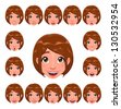 Girl expressions with lip sync. Funny cartoon and vector isolated character.  - stock photo