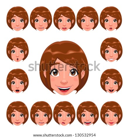 Girl expressions with lip sync. Funny cartoon and vector isolated character. - stock vector