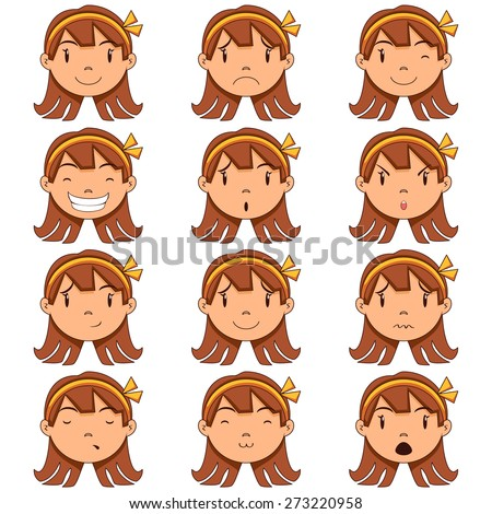 Girl face expressions, vector illustration, set collection - stock vector