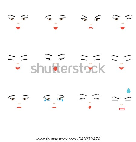 Girl Face Expressions Woman Female Emoji Stock Vector Hd Royalty