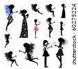 girl fairy set - stock vector