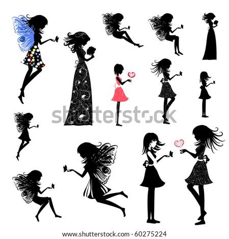 girl fairy set - stock vector