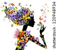 girl fashion flowers with butterflies - stock