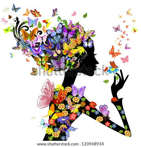 girl fashion flowers with butterflies - stock vector