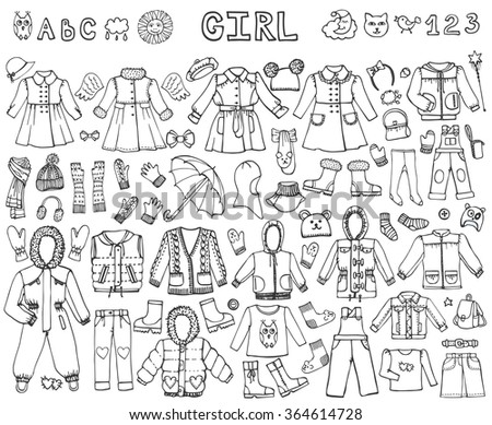 Girl fashion wear set.Baby,teenager wear collection set with shoes,accessories. fashion.Hand drawing doodles.Outline Trendy vector.Bright clothes illustration.Autumn,winter,spring season - stock vector