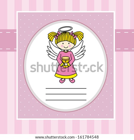 Girl first communion. Angel with a chalice. - stock vector