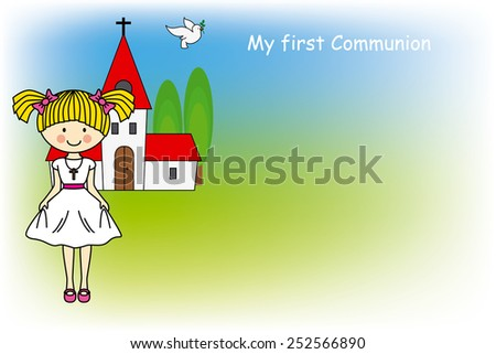 Girl First Communion card  - stock vector