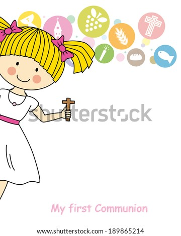 Girl first Communion Invitation Card - stock vector