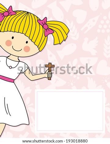 Girl first Communion Invitation Card - stock vector