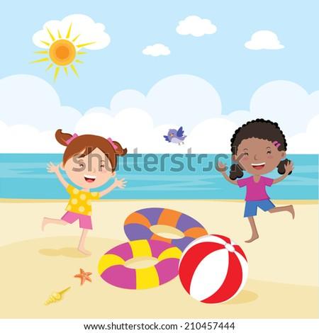 Girl fun in the sun. Little girls having fun on the beautiful beach ...