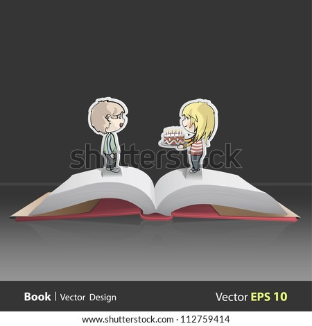 Girl giving a nice birthday cake with candles inside a Pop-Up Book. Vector background design. - stock vector
