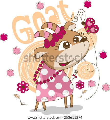 Girl goat with butterfly in flower garden vector. - stock vector