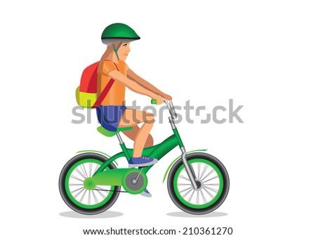 girl goes to school on bike - stock vector