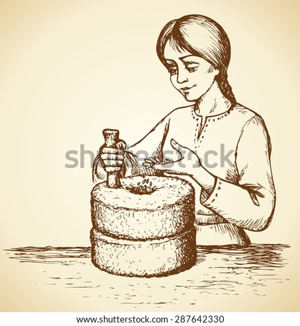 Girl grinds at mill wheel with handle holder filling seeds for processing for cooking. Vector freehand linear ink drawn backdrop sketch in art scribble antiquity style pen on paper with space for text - stock vector