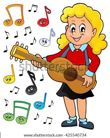 Girl guitar player theme image 2 - eps10 vector illustration. - stock vector