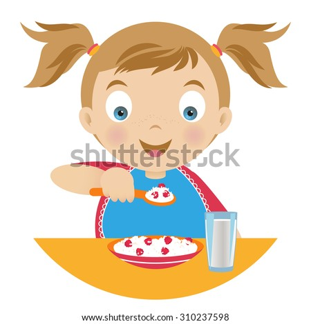 Girl having breakfast , holding a spoonful of porridge , a plate of porridge and a glass of milk on the table