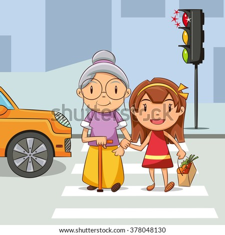 Girl helping old woman cross the street - stock vector