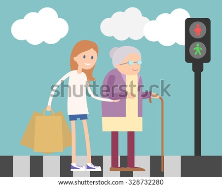 Girl helps old lady crossing road. Flat illustration about people kindness  - stock vector