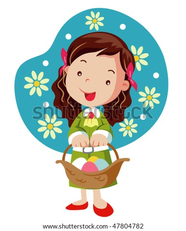 Girl hold basket with easter eggs - stock vector