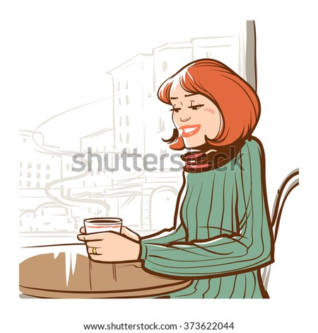 girl holding a mug of hot coffee, sitting in cafe, vector illustration - stock vector