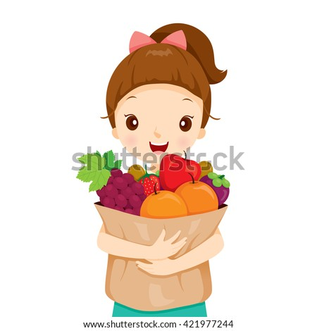 Girl Holding Bag Full Of Fruits, Tropical, Healthy Eating, Food, Juice - stock vector