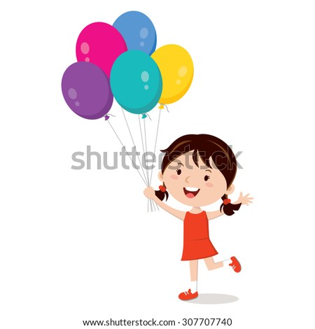 Girl holding balloons isolated. Happy girl gesturing with colorful balloons. - stock vector