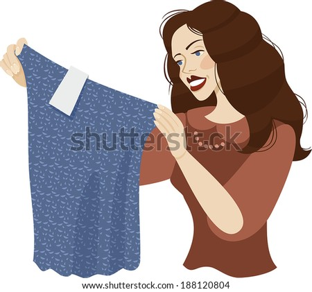 girl holding clothes