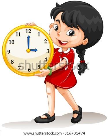 Girl holding yellow clock illustration - stock vector