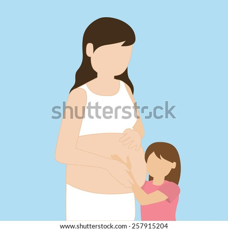 girl hugging pregnant mother - stock vector