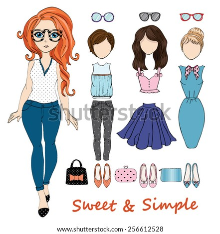 girl illustration / cute girl /girl character with elements and icons / cartoon girl graphic / T-shirt Graphics - stock vector