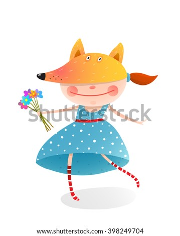 Girl in a mask fox with bouquet of flowers. Kid in fox costume.  Childhood and handsome character person, vector illustration - stock vector