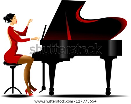 girl in a red dress playing piano black - stock vector