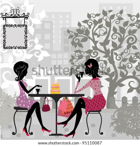 girl in a summer cafe and cake - stock vector
