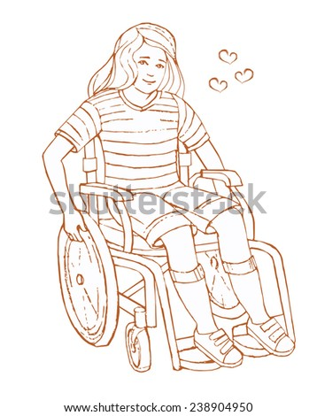 girl in a wheelchair on white background. woman in a Wheelchair - stock vector