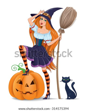 Girl in a witch costume with a pumpkin.