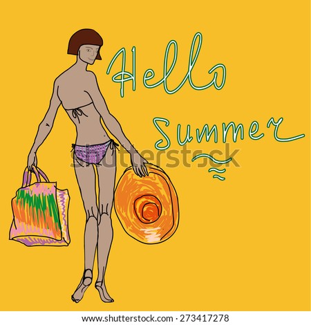 Girl in Bikini  holding a hat and a beach bag - stock vector