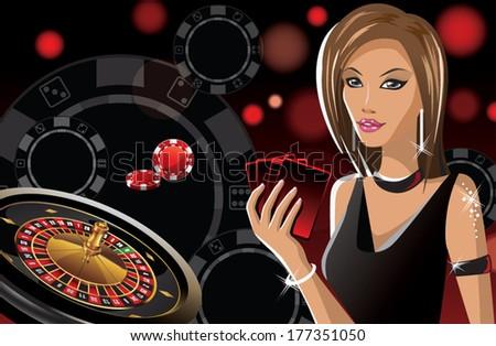 girl in casino banner - stock vector