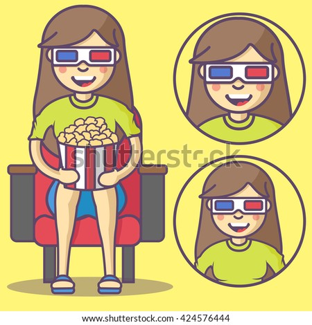 Girl in 3d glasses and with pop corn. Vector Girl in 3d glasses emoji. Girl in 3d glasses icons. Set Girl in 3d glasses character in cartoon style.  - stock vector