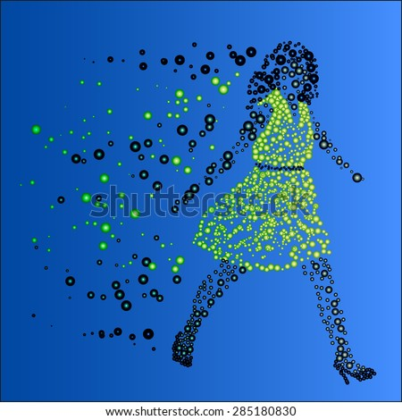 Girl in dress shoes with heels of the balls moving forward to the goal on a blue background