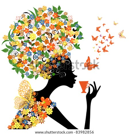girl in flowers with a hot cup - stock vector