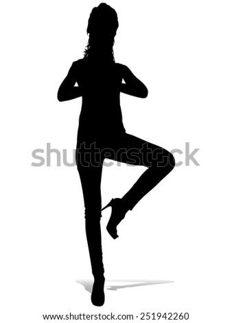 Girl in high heels doing yoga position - vrksasana  - stock vector