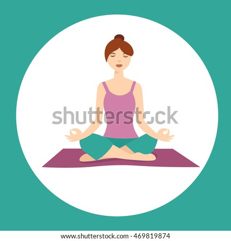 Girl In meditating sitting in lotus position turned back. Yoga woman, anti-stress people with speech bubble. Vector cartoon flat style art for relaxation banner.