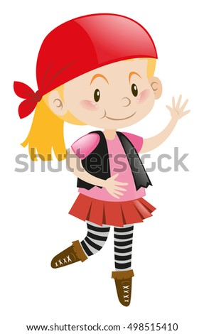 Girl in pirate costume illustration