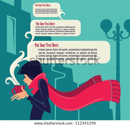 Girl in the City, vector illustration and background - stock vector