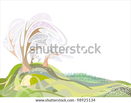 girl in the form of land in the spring, meadow of tulips, lilies, apple orchard in bloom - stock vector