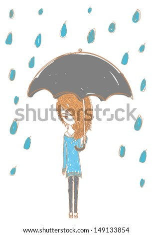 Girl in the rain with stylish design, create by vector - stock vector