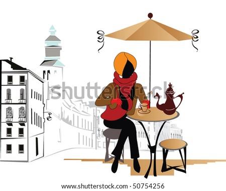 Girl in the street cafe - stock vector
