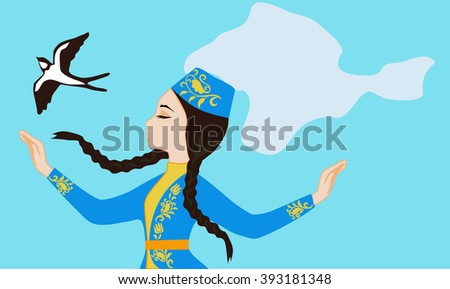 Girl in traditional clothes of the Crimean Tatar, which forms a veil silhouette Crimea - stock vector